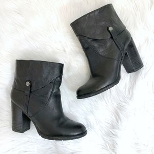 Franco Sarto Occela Black Leather Ankle Booties